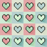 Pixelated hearts seamless  pattern. Royalty Free Stock Photography