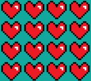 Pixelated hearts seamless  pattern. Royalty Free Stock Photos