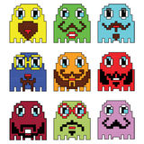 Pixelated Hipster emoticons  inspired  by 90's vintage video computer  games showing vary emotions with stroke. Icons set Stock Photo