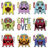 Pixelated hipster robot emoticons with simple WITH GAME OVER SIGN  inspired by 90's computer games showing different emotions. Icons set Royalty Free Stock Photo