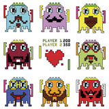 Pixelated hipster robot emoticons with simple hitting ball game with a heart shape inspired by 90's computer games showing differe Royalty Free Stock Photos