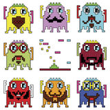 Pixelated hipster robot emoticons with simple with shooting spaceship element  inspired by 90's computer games showing different e Stock Photos