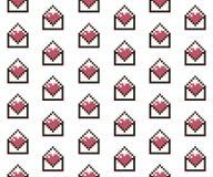 Pixelated hjärtor i bokstav stock illustrationer