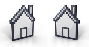 Pixelated house in perspective Royalty Free Stock Images