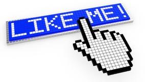 Pixelated like me button stock illustration