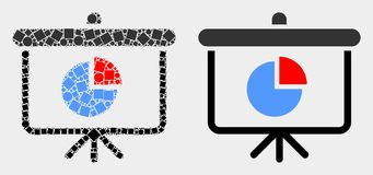 Pixelated och plan symbol för bräde för demonstration för vektorpajdiagram stock illustrationer