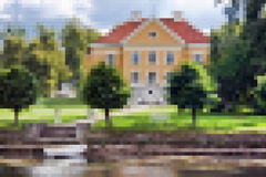 Pixelated Photo. An example of pixelation, pixeled photo of a house and trees royalty free illustration