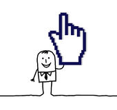 Pixelated pointing hand. Vector hand drawn cartoon characters Royalty Free Stock Photography
