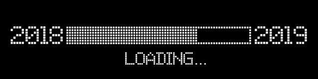Pixelated progress bar year 2018 to 2019 loading stock illustration