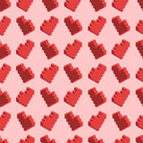 Pixelated red hearts on pink background, seamless pattern. A lot of pixelated red hearts on pink background, seamless pattern Stock Images