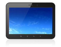 Pixelated Sky on black tablet pc computer. Black tablet pc computer with Pixelated Sky on display. Modern portable touch pad on White background, 3d render Stock Images