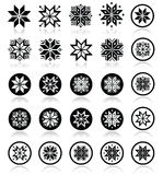 Pixelated snowflakes, Christmas icons Stock Images