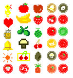 Pixelated summer fruit icons Royalty Free Stock Photos