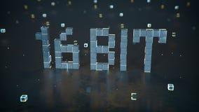 Pixelated text 16 bit on reflective floor 3D render illustration stock images