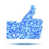 Pixelated thumb up Stock Photography