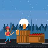 Pixelated urban videogame scenery. For fight vector illustration graphic design Vector Illustration