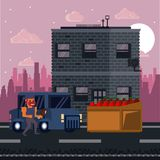 Pixelated urban videogame scenery. For fight vector illustration graphic design Royalty Free Illustration