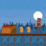 Pixelated urban videogame scenery. For fight vector illustration graphic design Stock Photography