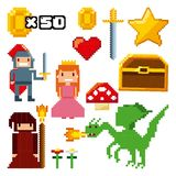 Pixelated video game icons. Vector illustration design Stock Photography