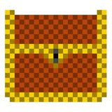 Pixelated wooden chest icon. Vector illustration design royalty free illustration