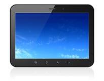 Pixelatedhemel op de zwarte computer van tabletpc Stock Afbeeldingen