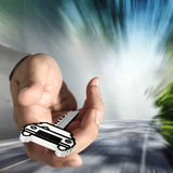 Pixelauto-Schlüsselikone Lizenzfreies Stockbild