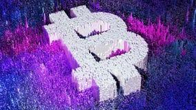 PIXELbitcoinsymbol Cyptocurrency begrepp Digital pengarsymbol illustration 3d Royaltyfri Foto