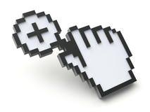 Pixelcurseur met vergrootglas Stock Foto's