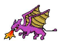 Pixeldraak, kunstvoorwerpen met 8 bits Retro spelactiva Reeks pictogrammen uitstekende computer videoarcades Vector illustratie stock illustratie