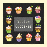 Pixeled cupcakes. Pixeled vector cupcakes on a gray background Stock Image