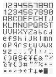 Pixeled ledde stilsorten, bokstäver och nummer Royaltyfri Foto