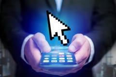 Pixeled myszy czarny i biały pointer wystawiający na futurystycznym zdjęcie stock