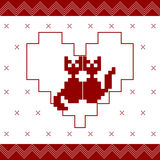 Pixeled ornament with couple cats  in heart Royalty Free Stock Photo
