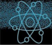 Pixeles azules y símbolo nuclear Imagen de archivo