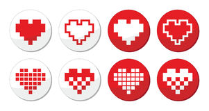 Pixeleted red heart icons set - love, dating online concept Stock Photo