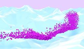 Pixelfluß Abstrakter Hintergrund mit weißen polygonalen Bergen und rosa Würfel fließen Abbildung 3D Lizenzfreies Stockfoto