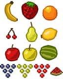 Pixelfrucht-Ikonenset Lizenzfreie Stockfotos