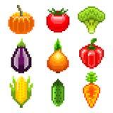 Pixelgroenten voor de vectorreeks van spelenpictogrammen Royalty-vrije Stock Foto's