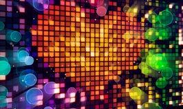 Pixelinnerform auf digitalem Bildschirm und bunten Leuchten Stockbild