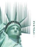 Pixelized-Freiheitsstatue mit der digitalen Phrase am 4. Juli Lizenzfreies Stockfoto