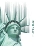 Pixelized statue of liberty with the digital phrase 4th july Royalty Free Stock Photo