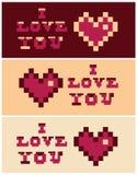 PIXELkonst älskar jag dig fastställda baner för hjärta och för text Royaltyfria Foton