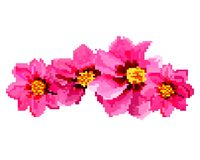 PIXELkonst av blommor stock illustrationer