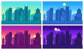 PIXELkonstcityscape Landskap för stad för bit för stadgata 8, natt och för gallerilek för dag stads- läge royaltyfri illustrationer