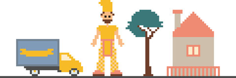 PIXELkonstclipart med bilen, trädet, huset och mannen Royaltyfria Bilder