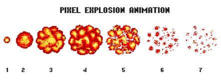 PIXELkonstexplosioner Modig symbolsuppsättning Komiska bangflammaeffekter för sinnesrörelse 8-bitvektor Smällbristningen exploder royaltyfri illustrationer