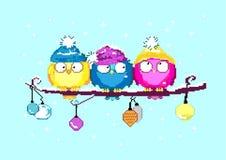 PIXELkonstillustration lyckligt nytt år färgrika fåglar Fåglar på en filial ekologiskt trä för julgarneringar också vektor för co royaltyfri illustrationer