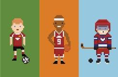 Pixelkunst-Artillustration - Sportlerfußball Stockfotos