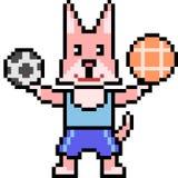 Pixelkunst Athletenkatze Lizenzfreies Stockbild