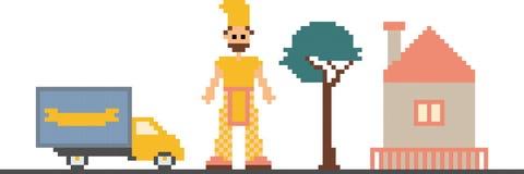 Pixelkunst clipart mit Auto, Baum, Haus und Mann Lizenzfreie Stockbilder